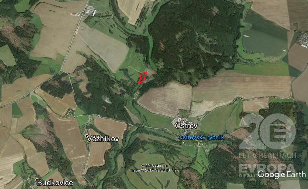 Prodej lesa 5918 m2, přilehlé ostatní plochy 627 m2, Ostrov u Bohdanče, Kutná Hora