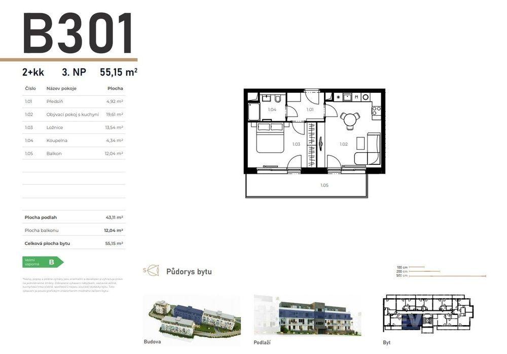 Prodej byt 2+kk v Unhošti západně od Prahy